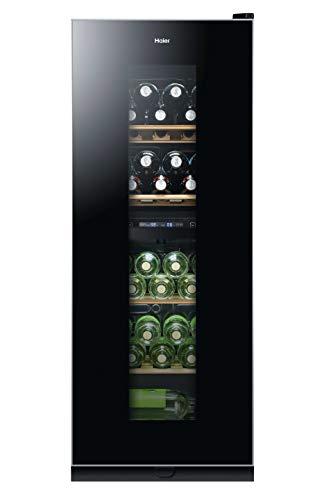 Haier WS46GDBE Weinkühlschrank/2 separate Kühlkreisläufe/127 cm Höhe/LED Display/UV-undurchlässige Glasscheibe/Anti-Vibrationskompressor/5 Edelholzablagen