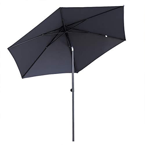 Sekey 270cm Aluminium Sonnenschirm | Push up Marktschirm | Gartenschirm | Terrassenschirm für Pool | Garten,Sonnenschutz UV50+, Grau