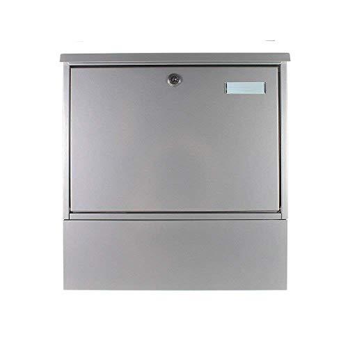 Rottner Stahl-Briefkasten Villa Set mit großem Fassungsvolumen und integrierter eckiger Zeitungsbox silber T00163