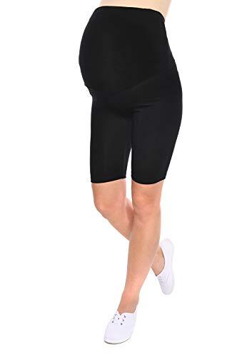 MijaCulture Komfortable Kurze Umstandsleggings für Schwangere Shorts 1/2 Leggings Mama 1052 (XL/XXL, Schwarz)