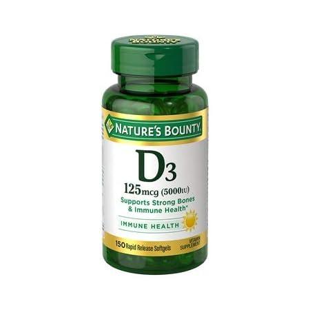 Nature's Bounty Vitamin D3 125 mcg (5000IU)- 150 softgels