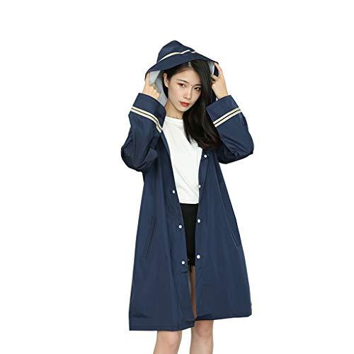 Ggjfj Dames Mode Hooded Regenjas, Waterdicht en Winddicht Poncho, Volwassen Outdoor Regenkleding, Geschikt voor Reizen, Wielrennen, Wandelen, Donkerblauw