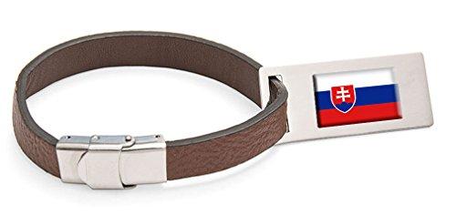 Slowakei Fahne Leder Kofferanhänger Edelstahl Gravur Text