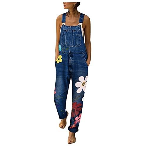 Combinaison en Jean Femme Combishort Chic Imprimé Salopettes De Travail Bib Pants Longue Jumpsuit One Piece Denim Pantalons Moto