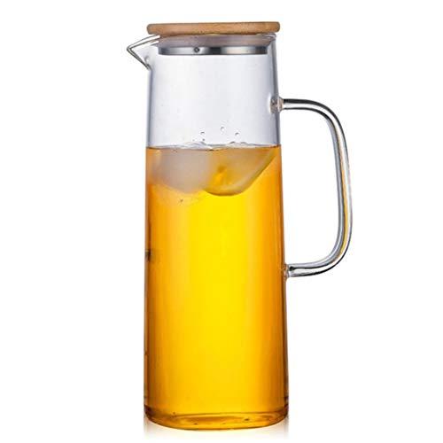Jarra de vidrio con tapa de bambú, alta resistencia al calor, botella segura para agua caliente/fría y té helado (tamaño: 1200 ml/45 onzas)