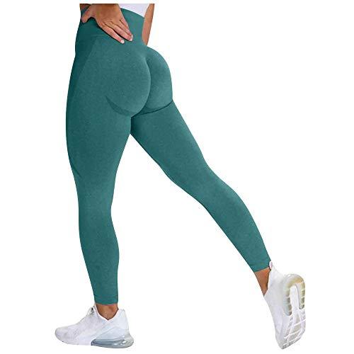 quming Levantamiento De Cadera Medias,Pantalones sin Costuras de la Yoga de Las Mujeres de Las Polainas, pantalón de Gimnasio para Correr de Cintura Alta-Green_XL
