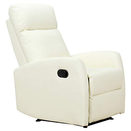 homcom Poltrona Relax Reclinabile Ergonomica Ecopelle 65 × 92 × 100cm Crema