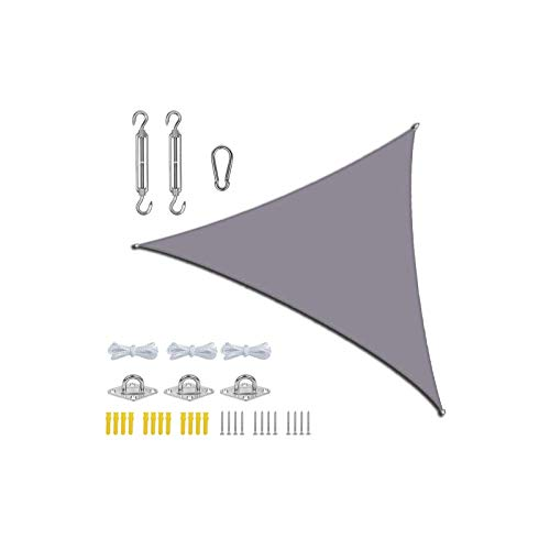 LIFOOST Sun Shade Sail Hardware Kit Hook Set Pergola Backyard Waterproof Outdoor Yard Garden Patios Party Sunscreen Awning 3x3x3m Triangle Canopy 98% UV Awning Canvas (Grey)