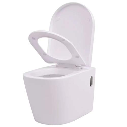 vidaXL Wand Hänge WC Keramik Softclose Sitz Absenkautomatik Weiß Toilette