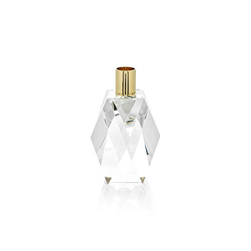 Zodax Florella Diamond Crystal Candle Holder, Gold, Clear