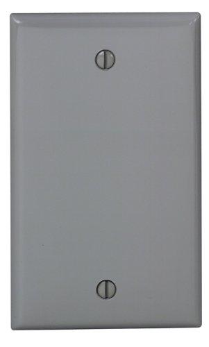 Leviton 80714-GY 1-Gang No Device Blank Wallplate, Standard Size, Thermoplastic Nylon, Box Mount, Gray