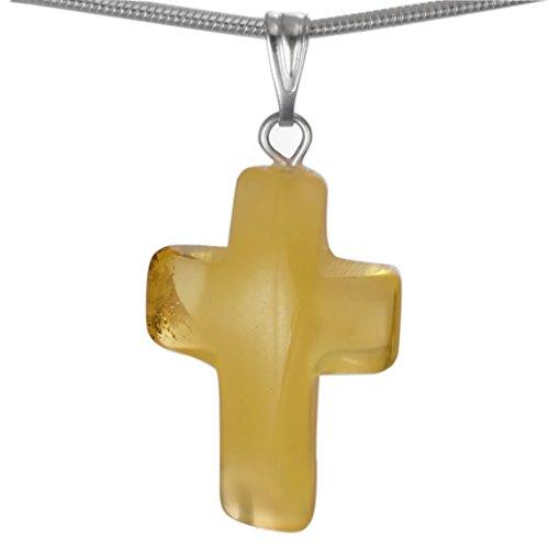 Kreuz Anhänger elfenbeinfarbener Bernstein, Bernsteinanhänger 925 Silber #1488-1
