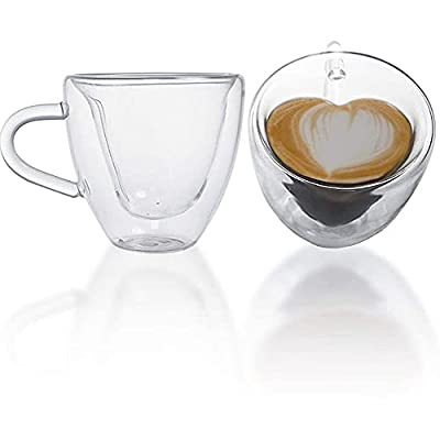 SKEMIX Heart Shaped Double Walled Insulated Glass Coffee Mugs or Tea Cups, Double Wall Glass 8 oz - Clear, Unique & Insulated with Handle