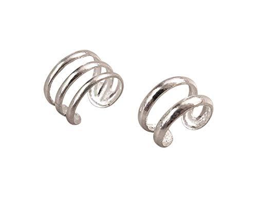 Set of 2 Silver Ear Cuff, Cartilage Earrings, Multi Band Ear Cuff, Non Pierce Ear Cuff, Silver Ear Wrap, Handmade Ear Cuff