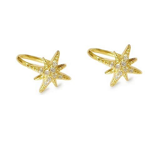 Huggie CZ Star Cuff Wrap Earrings for Women Girls 925 Sterling Silver Tiny Cute Crystal Diamond Twinkle Galaxy Hoop Clip on Earrings Cartilage Non Piercing Jewelry Fashion Wedding Gifts Gold Plated