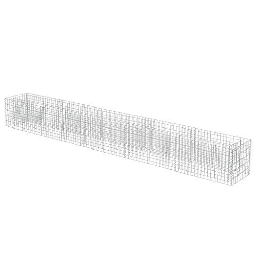 vidaXL Gabionen Hochbeet Verzinkter Stahl 450x50x50 cm Pflanzkorb Steinkorb