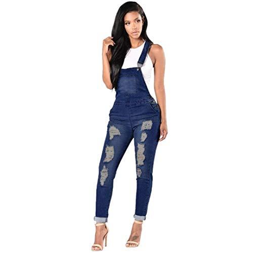 BOLAWOO-77 Peto Jeans Mujer Casuales Vintage Moda Agujeros Rotos Peto Mode De...
