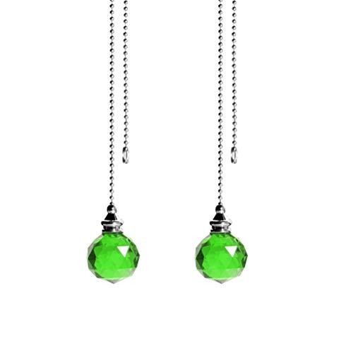 Jky Plafondventilator, 2 stuks, met kristallen bollen, retrostijl, voor plafondlamp, lamp, ventilator, ketting