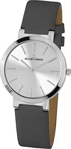 Klassisch elegante JACQUES LEMANS Damenuhr mit Lederband 1-1997B