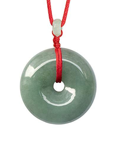 "Dahlia Circle/Donut/Coin Jade Pendant Necklace Genuine Certified Grade A Jadeite, 12-24"" D24/Q75"
