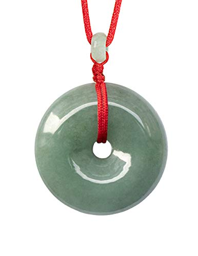 Dahlia Circle/Donut/Coin Jade Pendant Necklace Genuine Certified Grade A Jadeite, 12-24' D24/Q75