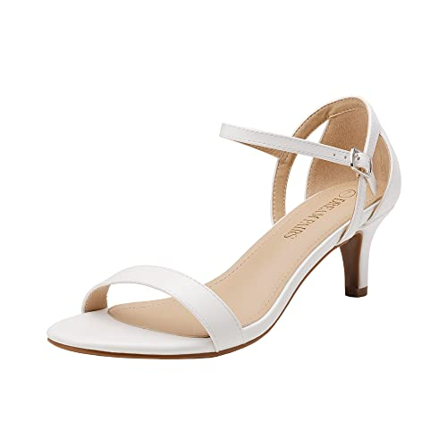 DREAM PAIRS Women's Lexii White Pu Fashion Stilettos Open Toe Pump Heel Sandals Size 9.5 B(M) US