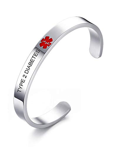 VNOX Medical Condition Alert ID Type 2 Diabetes 8MM Stainless Steel Open Cuff Bangle Bracelet for Men Women