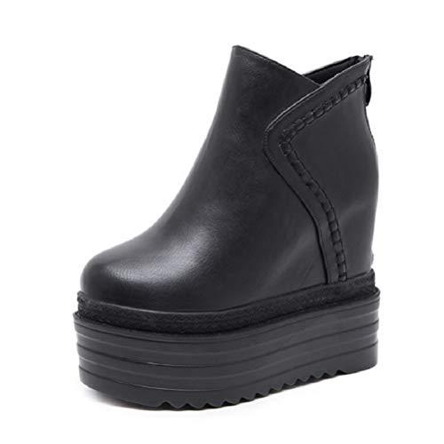 XBRMMM Botines de cuña con Plataforma para Mujer/Tacones Altos Ocultos Botas de Entrenadores de 13 cm Botas de tacón Alto Botas Negras Calzado de Plataforma de Vacaciones cálidas Tamaño
