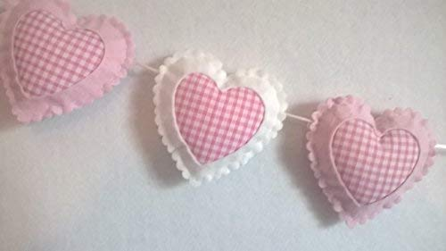 Girls Bedroom Accessories, Baby Room Nursery Love Hearts Wall Decor, Pink and White Felt Gingham Hanging Heart Decoration Bunting Garland For Baby Shower, Home, Nurseries, Decorative Girl Decorations.