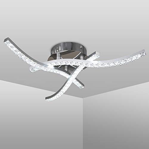 Plafoniera LED Soffitto, Lampadario soggiorno, luce bianca neutra 4000K, LED integrati 18W 1.600Lm, plafoniera cristallo, lampada da soffitto per camera da letto soggiorno ristorante scala
