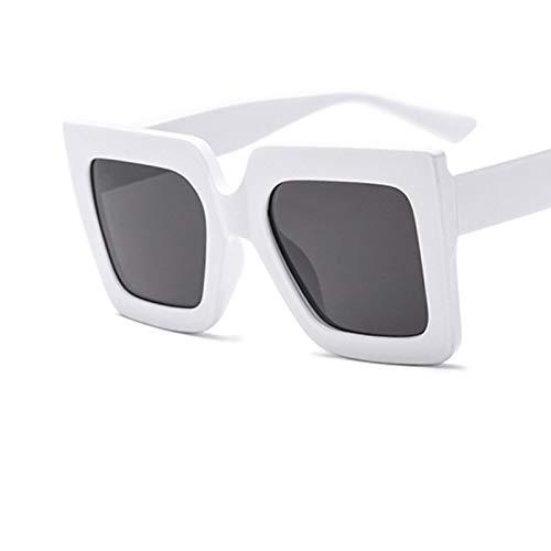 NJJX Gafas De Sol Cuadradas Retro De Gran Tamaño Para Mujer, Gafas Transparentes Con Degradado, Gafas De Sol Con MonturaGrande DeLujo,Sombras Blancas