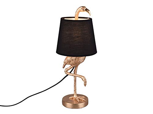 Coole Tischleuchte LOLA Flamingo Goldfarbig mit Stoffschirm in Schwarz, Höhe 42cm