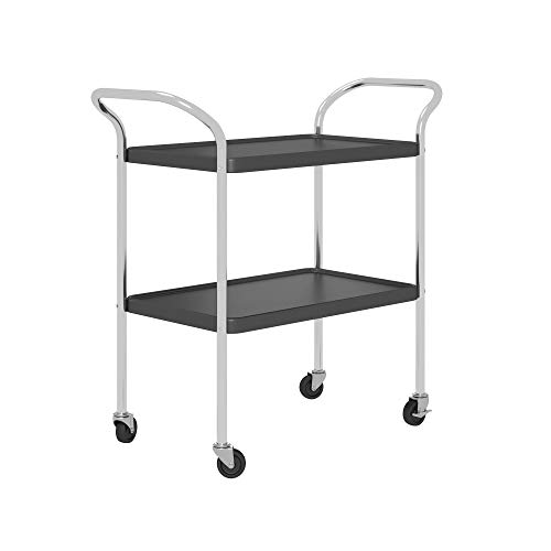 COSCO Stylaire Serving Cart, 2 Tier, Black & Chrome