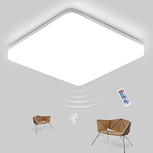 Plafoniera LED con Sensore di Movimento 24 W, Lampada da Soffitto Sensor Regolabile con Telecomando, LEOEU IP54 Impermeabile Luce per Bagno, Corridoio, Scale, Garage, Bianca Neutra 4000K