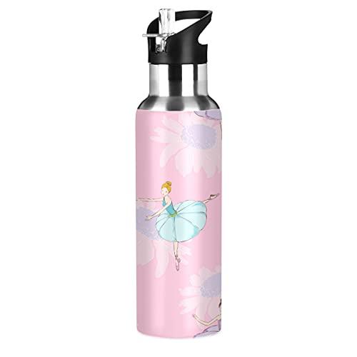 ADKing - Botella de agua con diseño de margarita floral de 20 onzas para deportes a prueba de fugas, botella de agua sin BPA, acero inoxidable