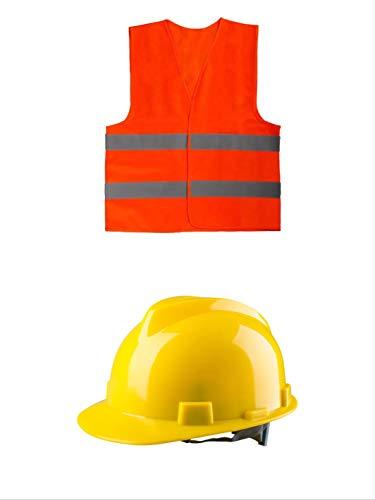 thematys Bauarbeiter Helm und Warnweste Kostüm-Set für Erwachsene - perfekt für Fasching & Karneval - Einheitsgröße