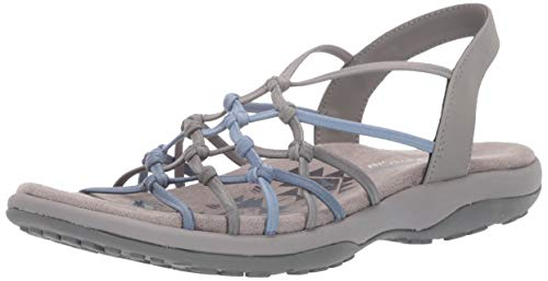 Skechers Women's Reggae Slim-Forget ME Knot Sandal, Grey/Blue, 11