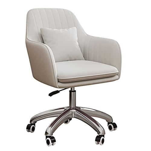 QIFFIY Silla de oficina para ordenador, respaldo para casa, oficina, cómoda, sedentaria, dormitorio, estudio, estudio, escritorio, silla giratoria (color: blanco)