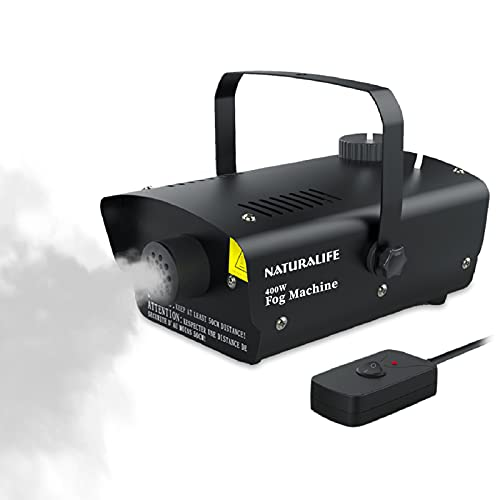 Naturalife Fog Machine, Professional Smoke Maker with Wired Remote Control and Fuse Protection, Great Smoke Machine for Halloween, Thanksgiving & Christmas Parties, 400W-Black