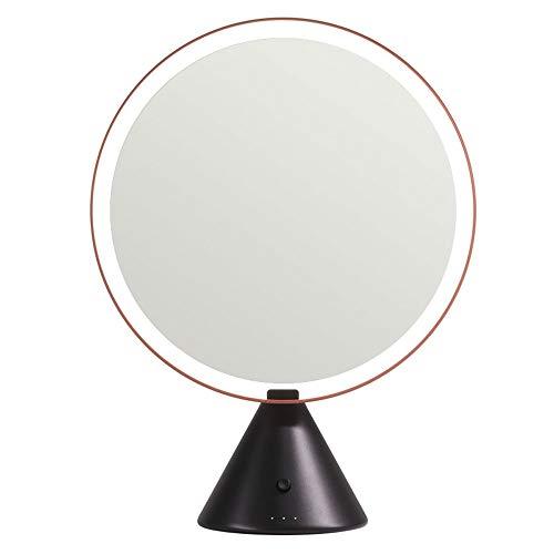 YLL Grand Miroir Rond de Bureau avec la lumière Smart Desktop Fill Light LED de Charge Miroir de Maquillage 3 Types de lumière Effet Remover (Couleur : Marron)
