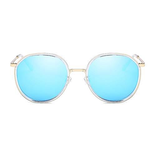 DKee New Trend - Gafas de sol polarizadas para mujer, montura redonda, protección UV400, montura transparente, lente azul