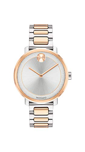Movado Women's BOLD Sugar Dial 2-Tone Watch with a Flat Dot, Silver/Gold/Pink (3600504)