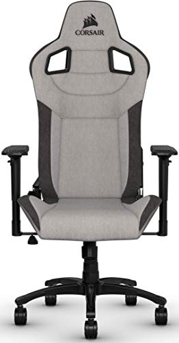 Corsair T3 Rush, Polyester Fabric Gaming Office Chair (Breathable Soft Fabric Exterior, Padded Neck Cushion, Memory Foam Lumbar Support, 4D Armrests, 180 Degree Recliner, Easy Assembly) Grey/Black