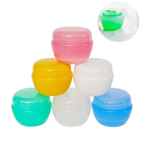 GreatforU 6 Stück 30 Gramm Dosen Leere mit Deckel Transparente Kosmetikbehälter plastik Pot für Creme, lippenbalsam und Lotion, Lidschatten, Flaschen Behälter mit Free 6 Stück Mini Spatulas Labels