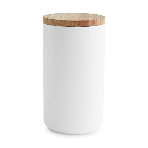 Keramik Vorratsdosen mit Holzdeckel Sweet Scandi, luftdichter Kautschukholz-Deckel, Aufbewahrungsdosen, Frischhaltedosen - 1x Weiß: 10x18cm