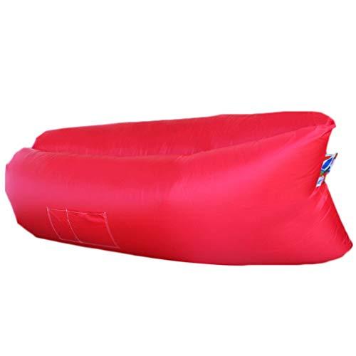Aufblasbares Sofa, Wasserdichtes Luftsofa Couch Outdoor Luft Sitzsack Tragbare Luftsack Strand Schnelle Aufblasbares Air Lounger mit Reißfestem Gewebe,Kompakte Tragetasche,zum Camping,Picknick (Rot)