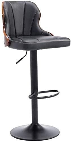 Sgabello da Bar in Metallo regolabile in Altezza 24 pollici con schienale, sedia da Pub in Pelle PU girevole a 360 gradi Sgabello Alto in Cotone Imbottito 914 (Colore: Nero)