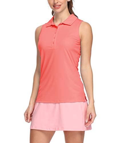 LastFor1 Women's Polo Sleeveless Shirts UPF 50+ Quick Dry Golf Tennis Athletic Tank Tops Outdoor Sports Pink M