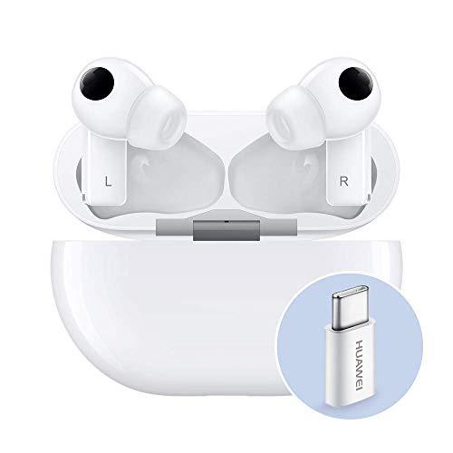 HUAWEI FreeBuds Pro mit Adapter für Huawei AP52, True Wireless Bluetooth Kopfhörer mit intelligenter Geräuschunterdrückung, 3 Mikrofonsystem, schnelles Aufladen, Keramikweiß