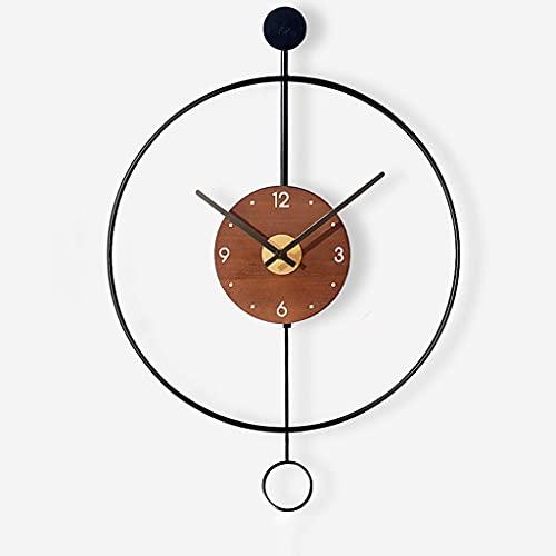 OMIDM Reloj de Pared Reloj Minimalista Minimalista Nórdico con Péndulo Decorativo Muro Silencioso Colgante SL Hollow Sin Marco Reloj de Pared Negro Negro (Color : Black, Size : Small)